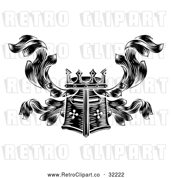 Vector Clip Art of a Retro Black Knight's Great Helm Helmet and Foliage Crest Coat of Arms