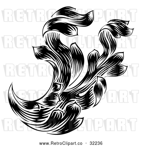 Vector Clip Art of a Retro Black Ornate Floral Design Element