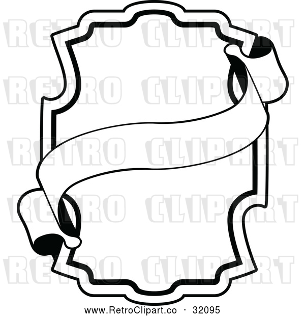: Vector Clip Art of a Retro Black Ornate Frame with a Banner