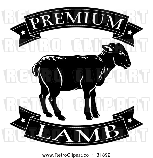 Vector Clip Art of a Retro Black Premium Lamb Food Banners and Sheep