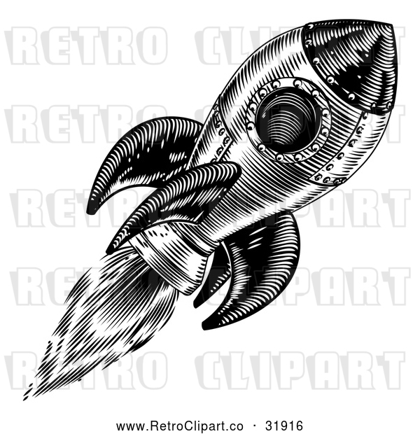 Vector Clip Art of a Retro Black Rocket in Flight