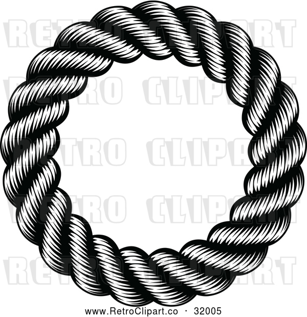 Vector Clip Art of a Retro Black Round Nautical Rope Frame