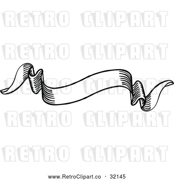 Vector Clip Art of a Retro Black Scroll Banner