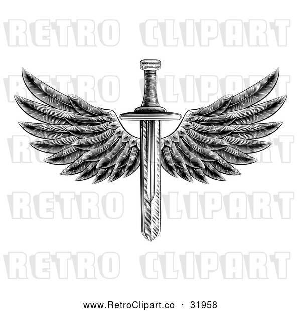 : Vector Clip Art of a Retro Black Winged Sword