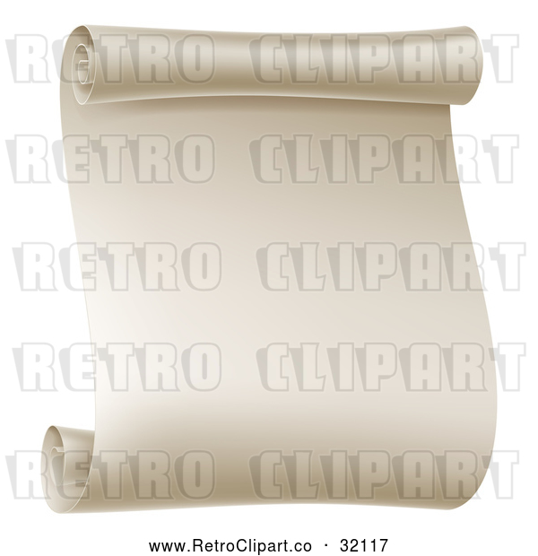 Vector Clip Art of a Retro Blank Scroll - Gradient 3d Styled
