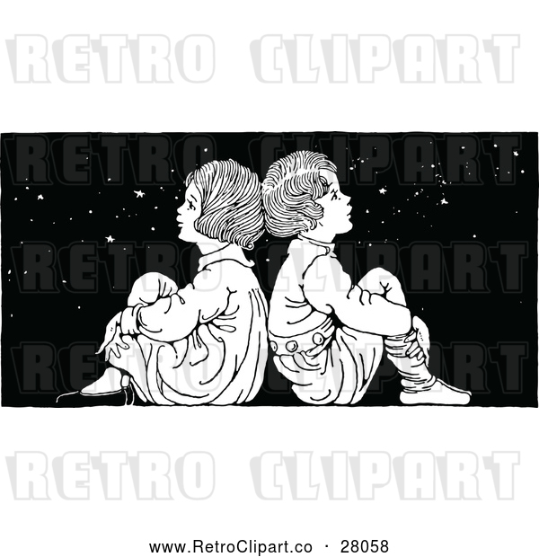 Vector Clip Art of a Retro Boy and Girl Sitting Back to Back Under Stars at Night