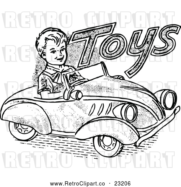 Vector Clip Art of a Retro Boy Driving a Toy Car