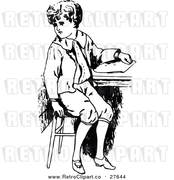 Vector Clip Art of a Retro Boy Sitting at School Desk