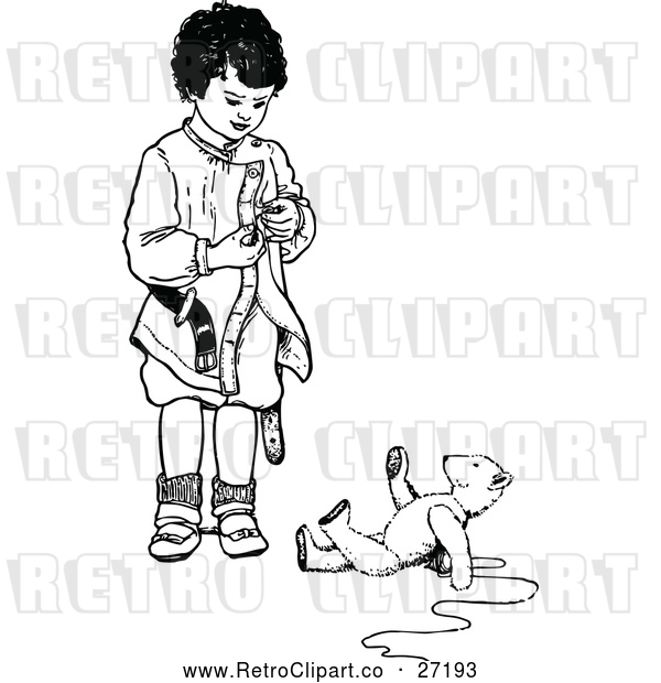 Vector Clip Art of a Retro Boy Standing Beside a Teddy Bear on the Ground - Black and White