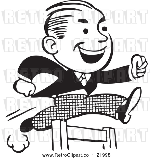 Vector Clip Art of a Retro Business Man Leaping a Hurdle