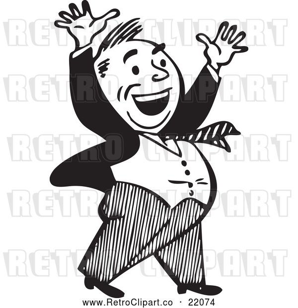 Vector Clip Art of a Retro Businessman Celebrating in Black and White