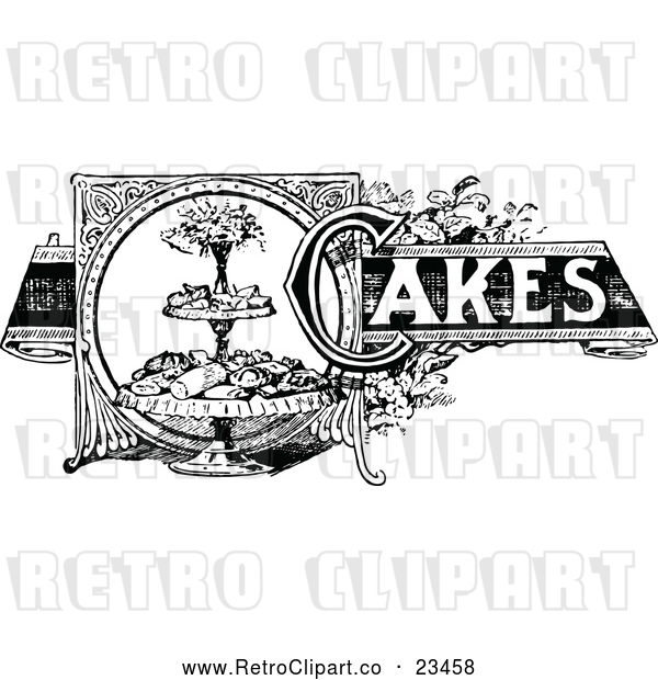 Vector Clip Art of a Retro Cakes Recipe Label