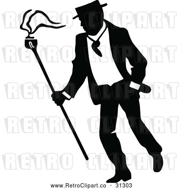 Vector Clip Art of a Retro Campaigner Walking Around