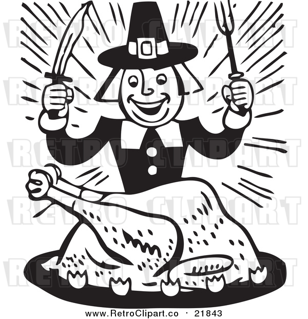 Vector Clip Art of a Retro Cartoon Pilgrim Eating Whole Cooked Turkey