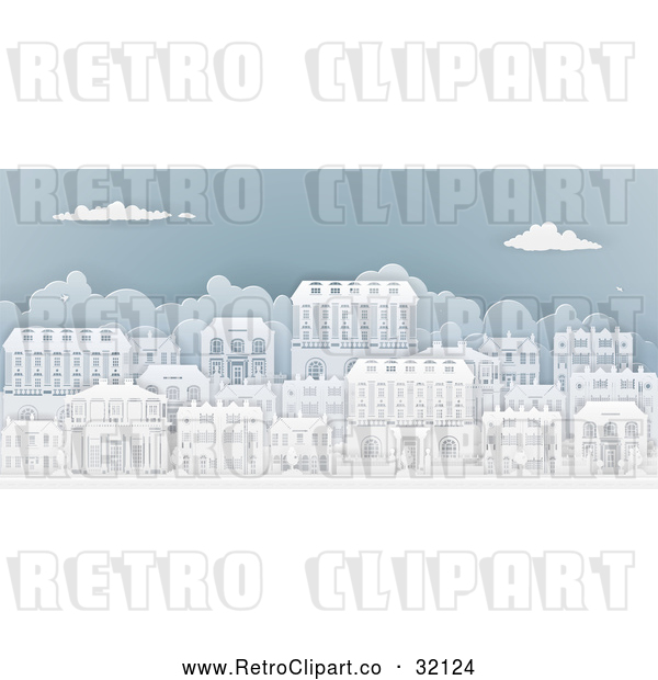 : Vector Clip Art of a Retro City with Georgian Homes in a Neighborhood