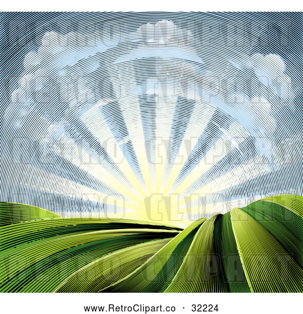 Vector Clip Art of a Retro Clouds with Sunrise over Farmland