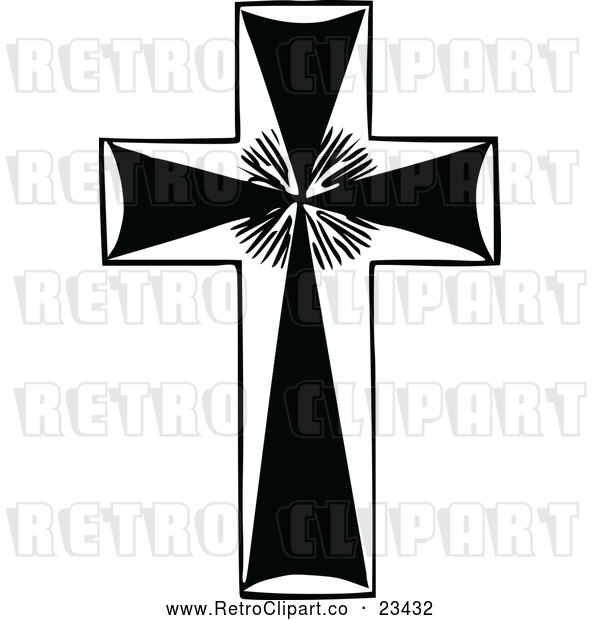 Vector Clip Art of a Retro Cross with Rays