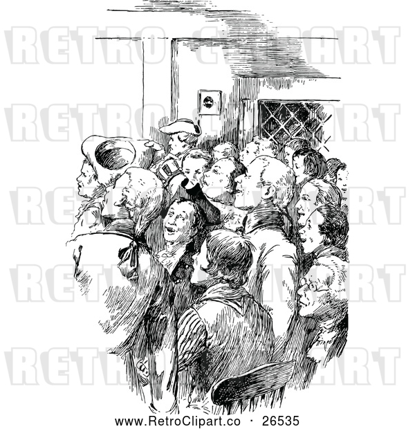 Vector Clip Art of a Retro Crowd of Men Inside a Buidling