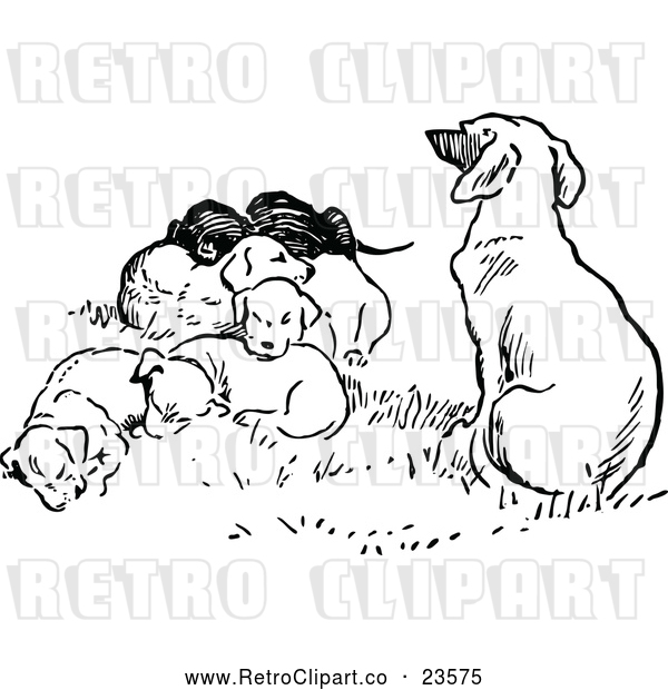 Vector Clip Art of a Retro Dog with Puppies