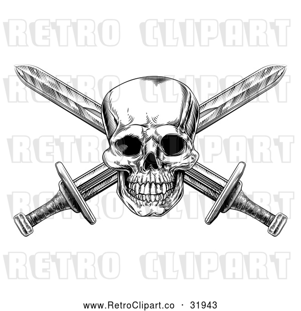 Vector Clip Art of a Retro Engraved Pirate Skull with Crisscrossed Swords in Black and White