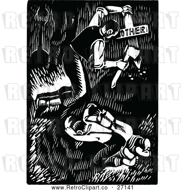 Vector Clip Art of a Retro Family Burying Their Dead Mother - Black and White