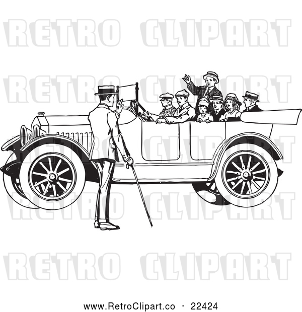 : Vector Clip Art of a Retro Family in a Old Convertible Car