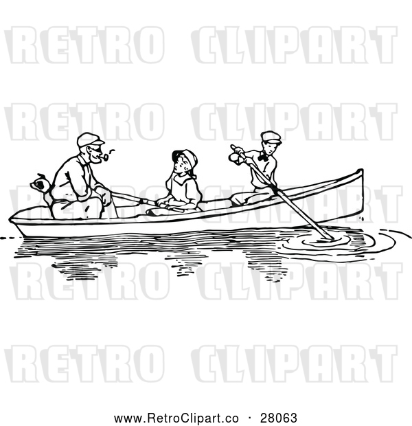 Vector Clip Art of a Retro Father, Dog, and Children Paddling a Boat