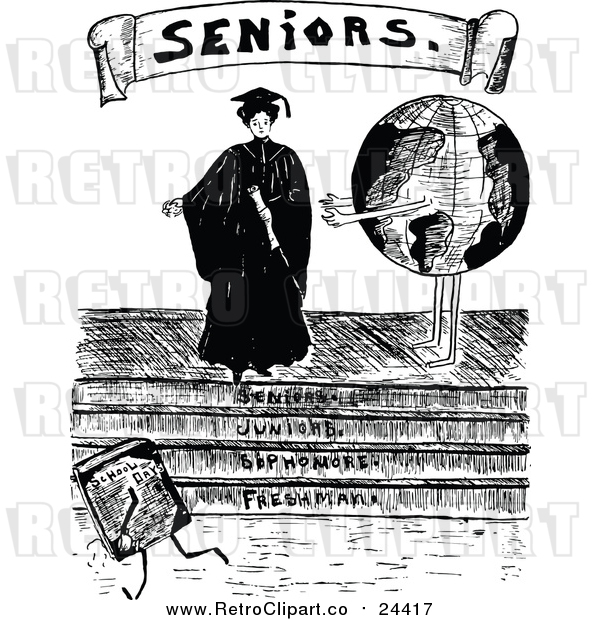 Vector Clip Art of a Retro Female Senior Graduate Beside a Globe