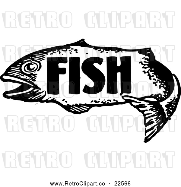 Vector Clip Art of a Retro Fish with Text