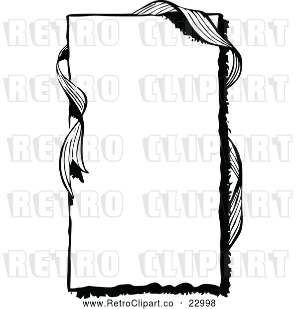 Vector Clip Art of a Retro Frame with Ribbon