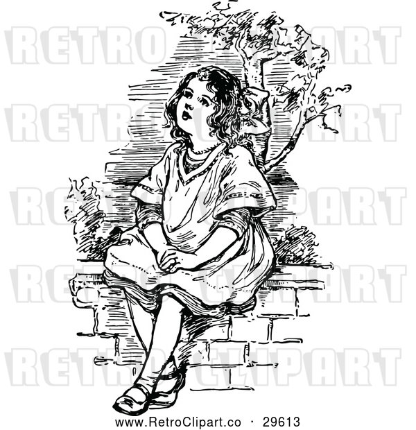 Vector Clip Art of a Retro Girl Sitting on a Wall