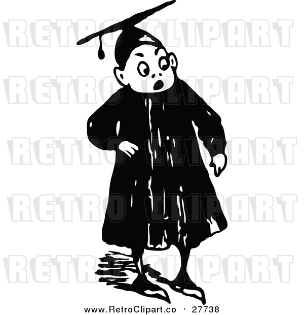 Vector Clip Art of a Retro Graduate Boy Looking Surprised