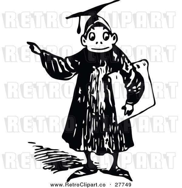 Vector Clip Art of a Retro Graduate Boy Pointing Finger While Smiling