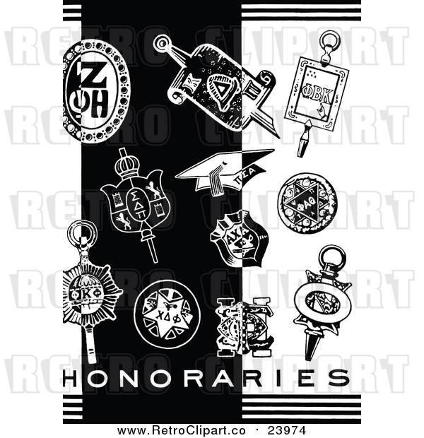 Vector Clip Art of a Retro Graduation Items Beside 'Honararies' Text