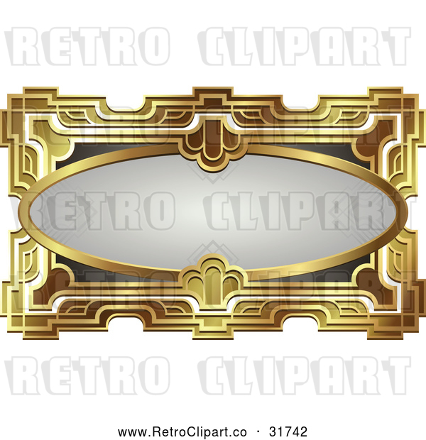 Vector Clip Art of a Retro Gray Oval and Gold Frame with Blank Space