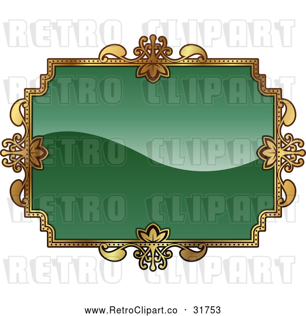 Vector Clip Art of a Retro Green and Gold Frame with Blank Space for Text