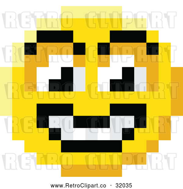 Vector Clip Art of a Retro Grinning 8 Bit Smiley Face