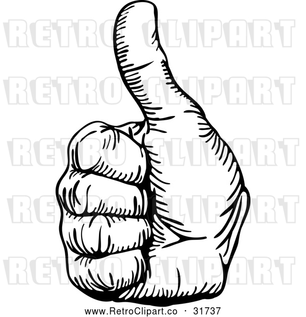 : Vector Clip Art of a Retro Hand Gesturing Thumb up in Black Outline