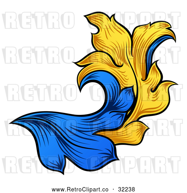Vector Clip Art of a Retro Heraldry Floral Design Element - Blue and Yellow Theme