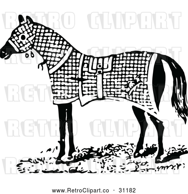 Vector Clip Art of a Retro Horse Wearing Warm Blanket