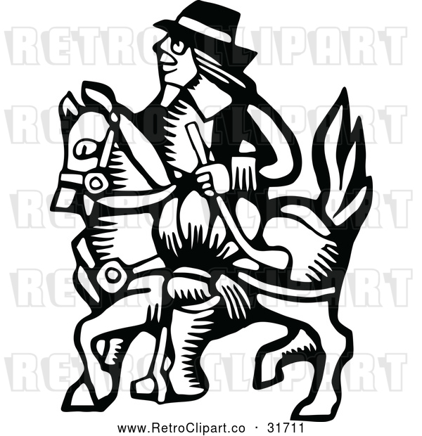 Vector Clip Art of a Retro Horseback Rider