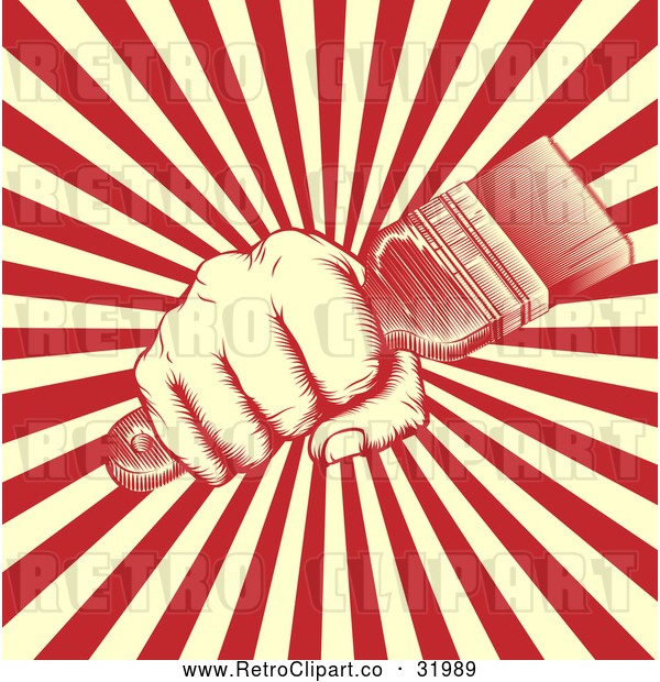 Vector Clip Art of a Retro Human Fist Gripping a Paint Brush over Rays - Red Version