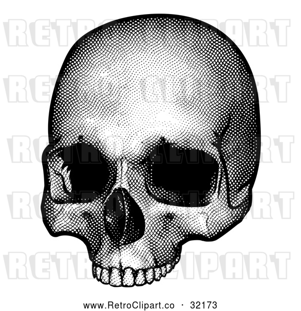 Vector Clip Art of a Retro Human Skull in Black and White