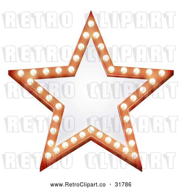 Vector Clip Art of a Retro Illuminated Star Sign with Blank Text Space