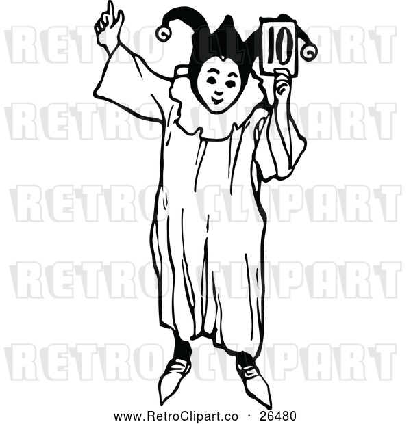 Vector Clip Art of a Retro Jester Boy Holding Number 10 Card - Black and White