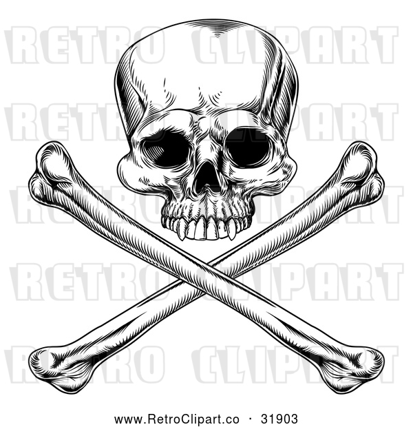 Vector Clip Art of a Retro Jolly Roger Skull with Crossbones Below in Black and White