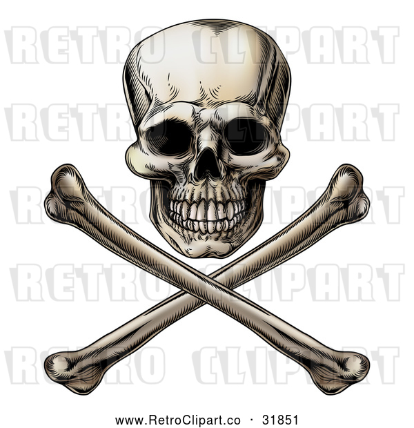 Vector Clip Art of a Retro Jolly Roger Skull with Crossbones