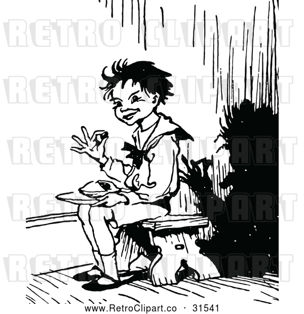 Vector Clip Art of a Retro Kid Sitting in a Corner While Eating Christmas Pie