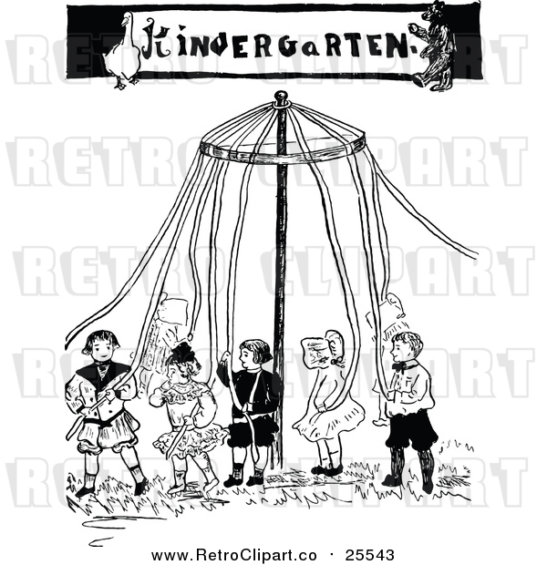 Vector Clip Art of a Retro Kindergarten May Pole with Children