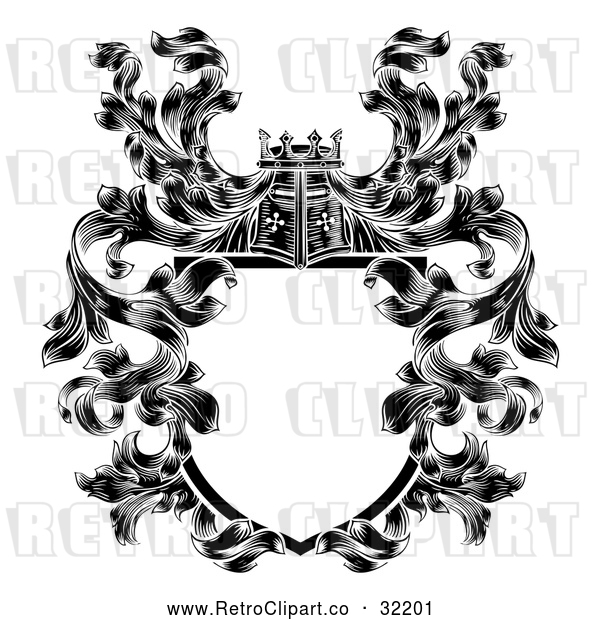 Vector Clip Art of a Retro Knights Great Helm Helmet with Filigree Crest Coat of Arms Shield in Black Lineart